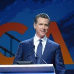 """We are nothing less than a progressive answer to a transgressive president,"" Newsom said. ""California is where the future happens first."""